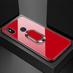 Custodia Silicone Specchio Laterale Cover con Magnetico Anello Supporto per Xiaomi Mi Max 3 Rosso
