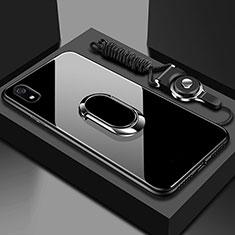 Custodia Silicone Specchio Laterale Cover con Magnetico Anello Supporto per Xiaomi Redmi 7A Nero