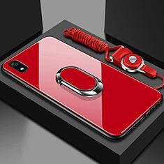 Custodia Silicone Specchio Laterale Cover con Magnetico Anello Supporto per Xiaomi Redmi 7A Rosso