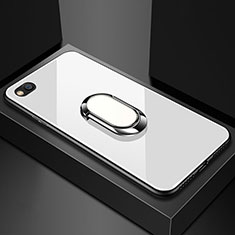 Custodia Silicone Specchio Laterale Cover con Magnetico Anello Supporto per Xiaomi Redmi Go Bianco