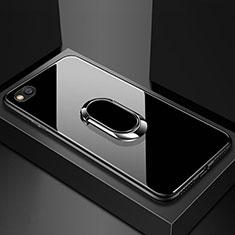 Custodia Silicone Specchio Laterale Cover con Magnetico Anello Supporto per Xiaomi Redmi Go Nero