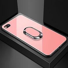 Custodia Silicone Specchio Laterale Cover con Magnetico Anello Supporto per Xiaomi Redmi Go Oro Rosa