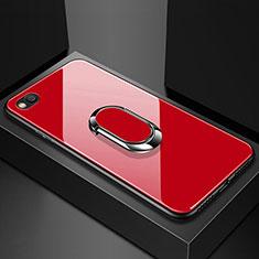 Custodia Silicone Specchio Laterale Cover con Magnetico Anello Supporto per Xiaomi Redmi Go Rosso