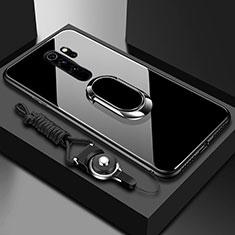 Custodia Silicone Specchio Laterale Cover con Magnetico Anello Supporto per Xiaomi Redmi Note 8 Pro Nero
