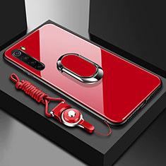 Custodia Silicone Specchio Laterale Cover con Magnetico Anello Supporto per Xiaomi Redmi Note 8 Rosso