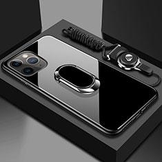 Custodia Silicone Specchio Laterale Cover con Magnetico Anello Supporto T01 per Apple iPhone 11 Pro Nero