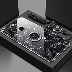 Custodia Silicone Specchio Laterale Cover con Magnetico Anello Supporto T01 per Huawei Honor 20 Lite Nero