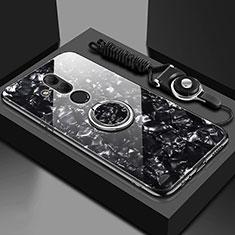 Custodia Silicone Specchio Laterale Cover con Magnetico Anello Supporto T01 per Huawei Mate 20 Lite Nero