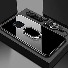 Custodia Silicone Specchio Laterale Cover con Magnetico Anello Supporto T01 per Huawei Mate 20 Pro Nero