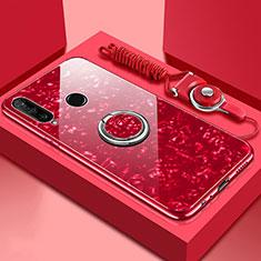 Custodia Silicone Specchio Laterale Cover con Magnetico Anello Supporto T01 per Huawei P30 Lite New Edition Rosso