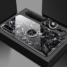 Custodia Silicone Specchio Laterale Cover con Magnetico Anello Supporto T01 per Huawei P30 Nero