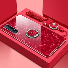 Custodia Silicone Specchio Laterale Cover con Magnetico Anello Supporto T01 per Oppo Find X2 Neo Rosso