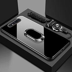 Custodia Silicone Specchio Laterale Cover con Magnetico Anello Supporto T01 per Samsung Galaxy A80 Nero