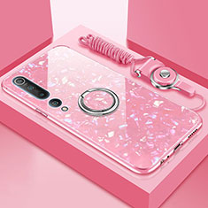 Custodia Silicone Specchio Laterale Cover con Magnetico Anello Supporto T01 per Xiaomi Mi 10 Rosa
