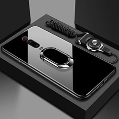 Custodia Silicone Specchio Laterale Cover con Magnetico Anello Supporto T01 per Xiaomi Mi 9T Nero