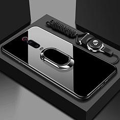 Custodia Silicone Specchio Laterale Cover con Magnetico Anello Supporto T01 per Xiaomi Mi 9T Pro Nero