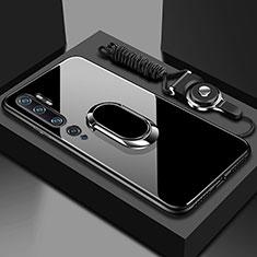 Custodia Silicone Specchio Laterale Cover con Magnetico Anello Supporto T01 per Xiaomi Mi Note 10 Nero