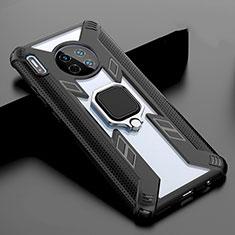 Custodia Silicone Specchio Laterale Cover con Magnetico Anello Supporto T02 per Huawei Mate 30 Nero