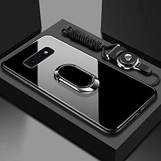 Custodia Silicone Specchio Laterale Cover con Magnetico Anello Supporto T02 per Samsung Galaxy S10e Nero