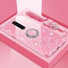 Custodia Silicone Specchio Laterale Cover con Magnetico Anello Supporto T02 per Xiaomi Mi 9T Pro Rosa