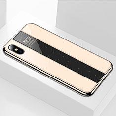 Custodia Silicone Specchio Laterale Cover M01 per Apple iPhone X Oro