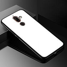 Custodia Silicone Specchio Laterale Cover M01 per Nokia 7 Plus Bianco