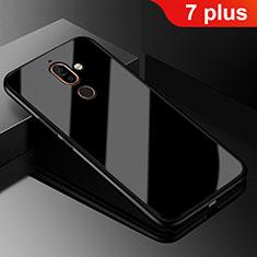 Custodia Silicone Specchio Laterale Cover M01 per Nokia 7 Plus Nero