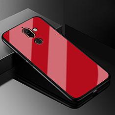 Custodia Silicone Specchio Laterale Cover M01 per Nokia 7 Plus Rosso