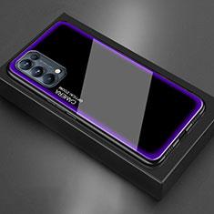 Custodia Silicone Specchio Laterale Cover M01 per Oppo Reno5 5G Viola