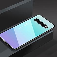 Custodia Silicone Specchio Laterale Cover M01 per Samsung Galaxy S10 5G SM-G977B Cielo Blu