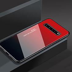 Custodia Silicone Specchio Laterale Cover M01 per Samsung Galaxy S10 5G SM-G977B Rosso