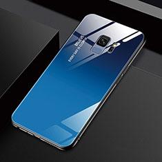 Custodia Silicone Specchio Laterale Cover M01 per Samsung Galaxy S9 Blu
