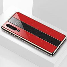 Custodia Silicone Specchio Laterale Cover M04 per Huawei P30 Rosso