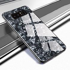 Custodia Silicone Specchio Laterale Cover M04 per Samsung Galaxy Note 8 Duos N950F Nero