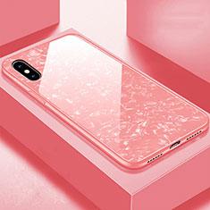 Custodia Silicone Specchio Laterale Cover per Apple iPhone Xs Max Oro Rosa
