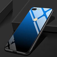 Custodia Silicone Specchio Laterale Cover per Huawei Honor 9 Lite Blu e Nero