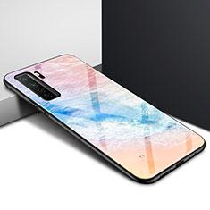 Custodia Silicone Specchio Laterale Cover per Huawei P40 Lite 5G Arancione