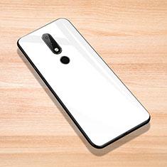 Custodia Silicone Specchio Laterale Cover per Nokia X6 Bianco