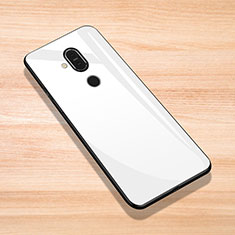 Custodia Silicone Specchio Laterale Cover per Nokia X7 Bianco