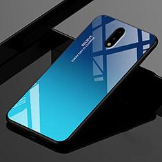 Custodia Silicone Specchio Laterale Cover per OnePlus 7 Blu