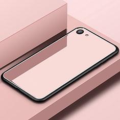 Custodia Silicone Specchio Laterale Cover per Oppo A3 Oro Rosa