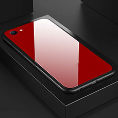 Custodia Silicone Specchio Laterale Cover per Oppo A3 Rosso