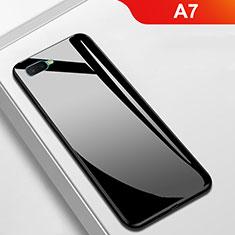 Custodia Silicone Specchio Laterale Cover per Oppo A7 Nero