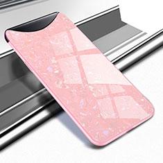 Custodia Silicone Specchio Laterale Cover per Oppo Find X Oro Rosa