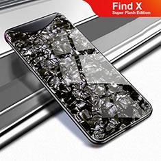 Custodia Silicone Specchio Laterale Cover per Oppo Find X Super Flash Edition Nero