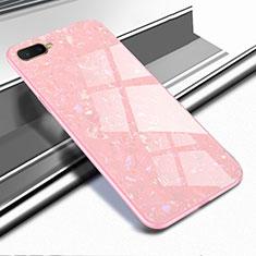 Custodia Silicone Specchio Laterale Cover per Oppo R17 Neo Oro Rosa