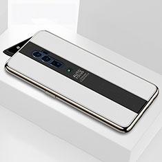 Custodia Silicone Specchio Laterale Cover per Oppo Reno 10X Zoom Bianco