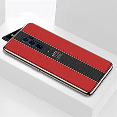 Custodia Silicone Specchio Laterale Cover per Oppo Reno 10X Zoom Rosso