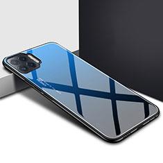 Custodia Silicone Specchio Laterale Cover per Oppo Reno4 F Blu