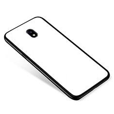 Custodia Silicone Specchio Laterale Cover per Samsung Galaxy J5 (2017) SM-J750F Bianco